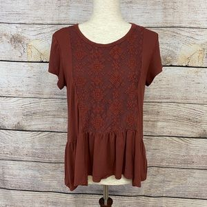 AEO Soft & Sexy Brown and Laced T-shirt